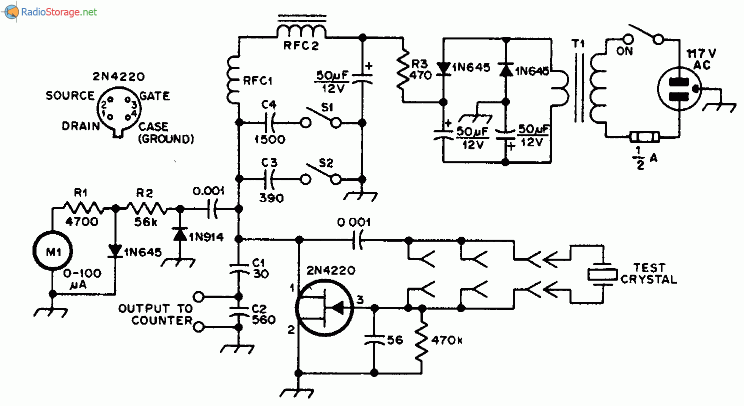 Генератор Пирса на полевом транзисторе 2N4220 тестирует любые кварцевые резонаторы (кварцы) в диапазоне частот от 50...