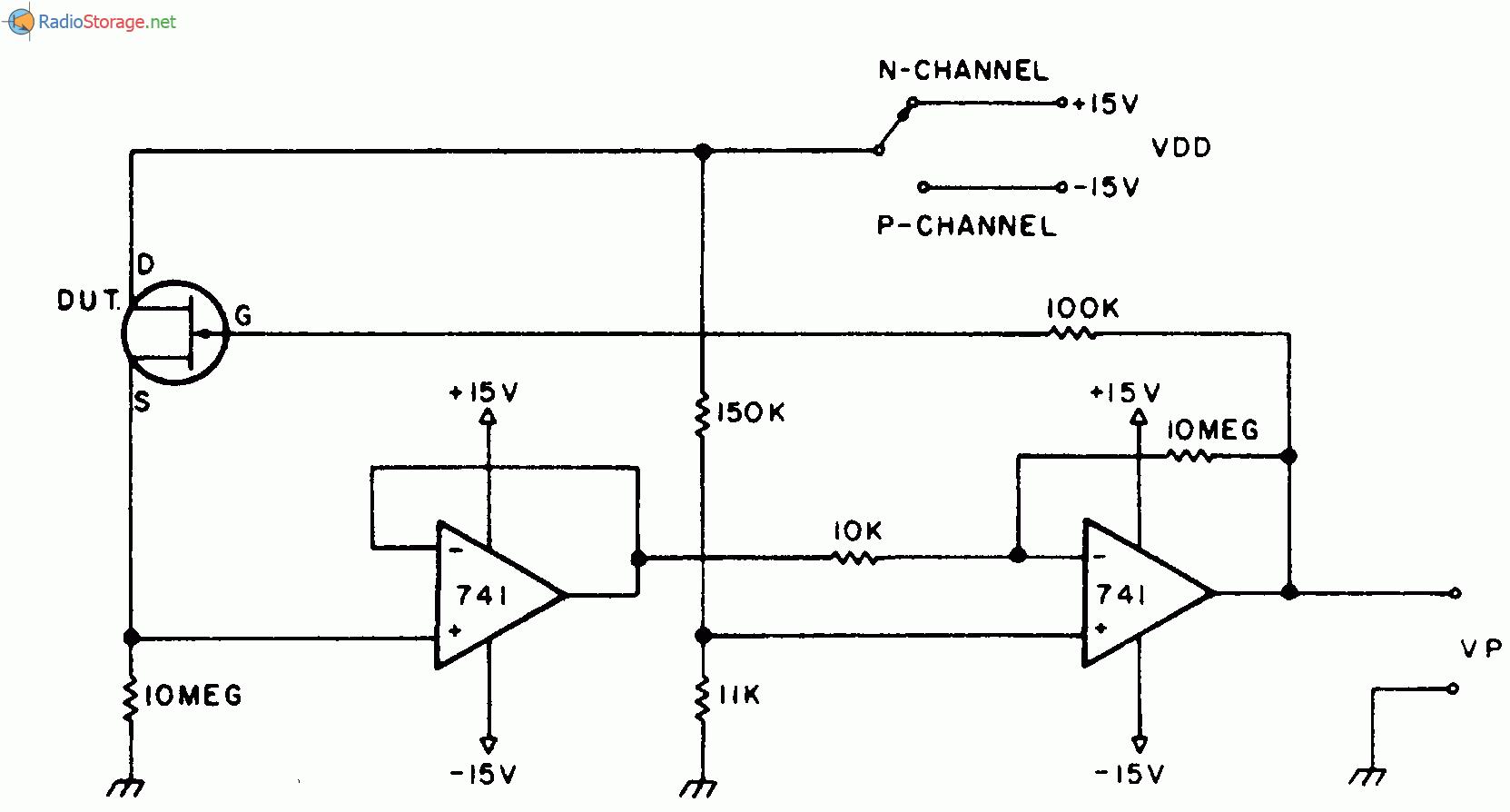 Схема тестера может использоваться для измерения напряжения отсечки, подбора полевого транзистора и измерения...