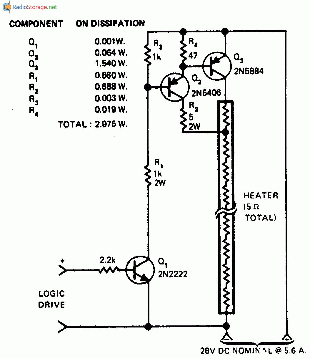 Принципиальная схема: Переключатель разогрева тена с малой мощностью рассеивания.
