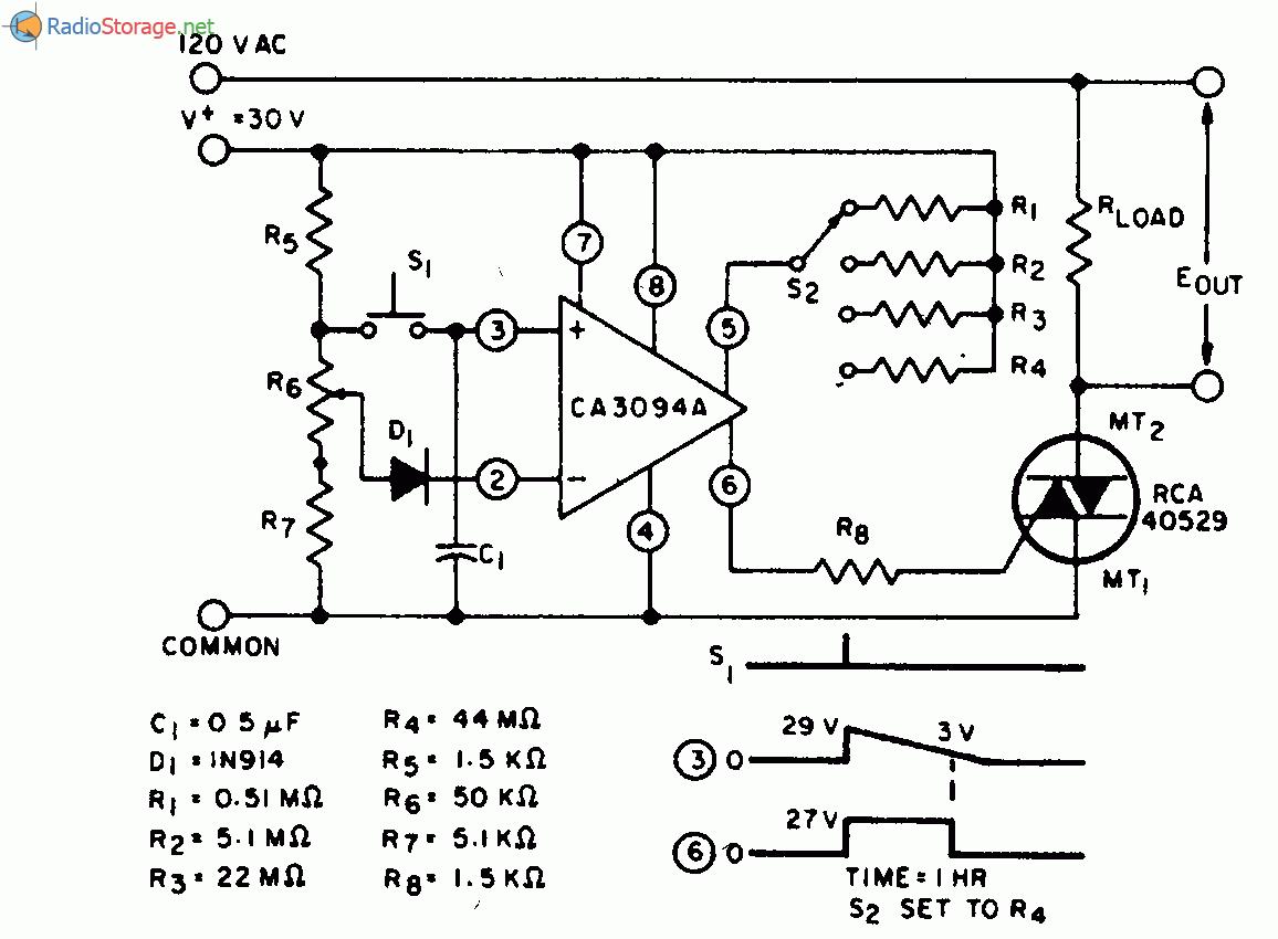 Переключатель S2 схемы аналогового таймера дает возможность выбора 4 интервалов временной задержки между моментом...