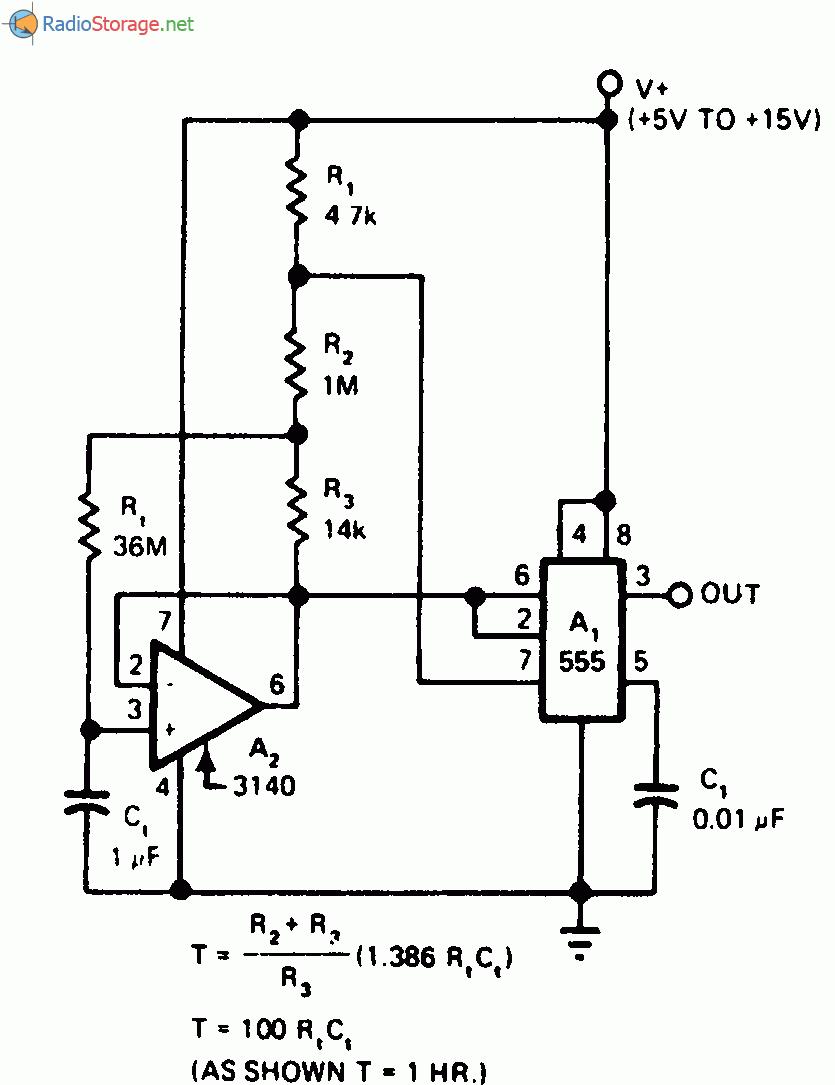 Принципиальная схема: Схема таймера с задержкой от микросекунды до часа.