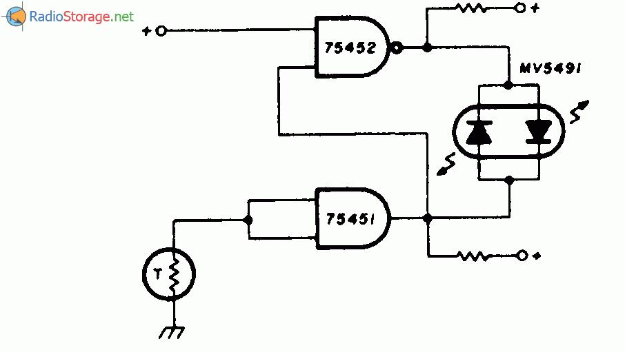 Принципиальная схема: Термометр с двухцветным красно зеленым светодиодным индикатором.