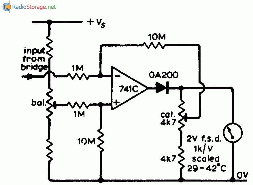 Принципиальная схема: Схема установки нуля на выходе термометра.