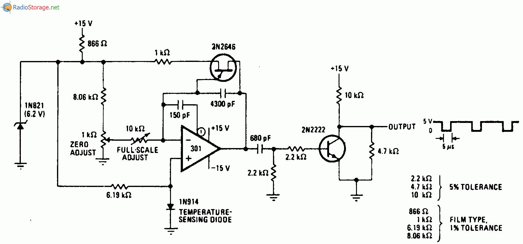 Частота релаксационного генератора изменяется линейно в диапазоне 0—1000 Гц при изменении температуры 0—100 С...