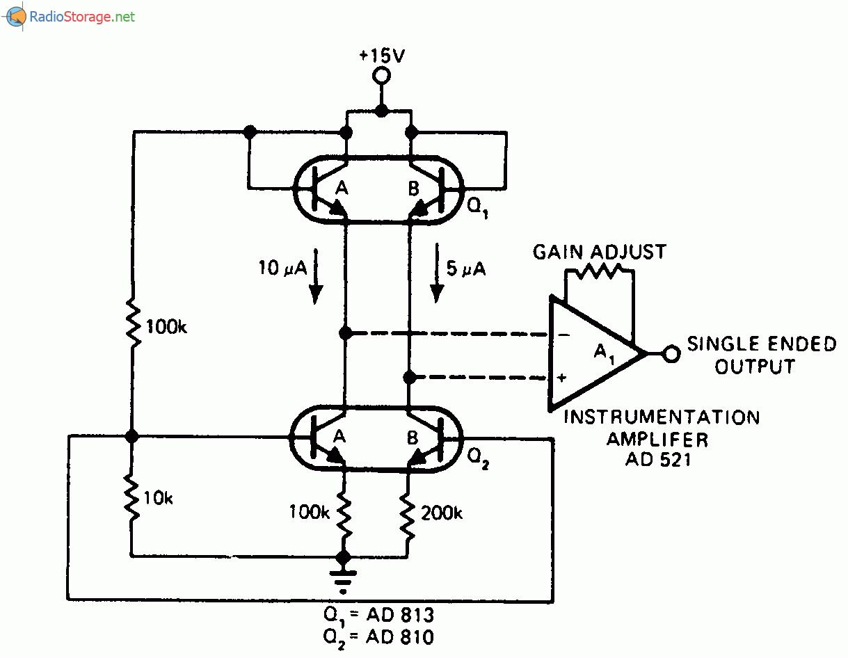 В качестве спаренного дифференциального датчика для измерения температуры используется сдвоенный транзистор Q...