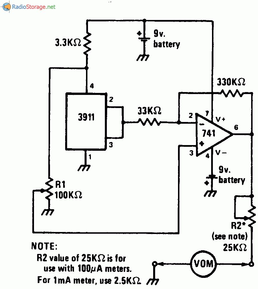 Датчиком в данной схеме является микросхема 3911, выходной сигнал которой соответствует 10мВ/К (температурная шкала...