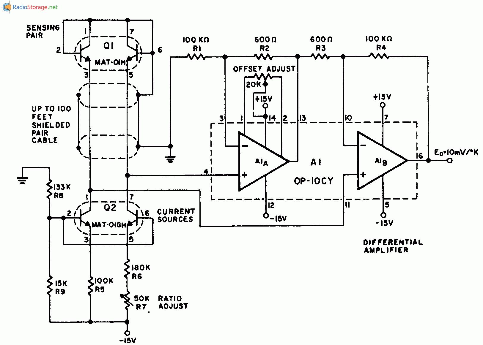 На приведенной схеме симметричная пара транзисторов QI типа МАТ-01Н компании Precision Monolithics измеряет...