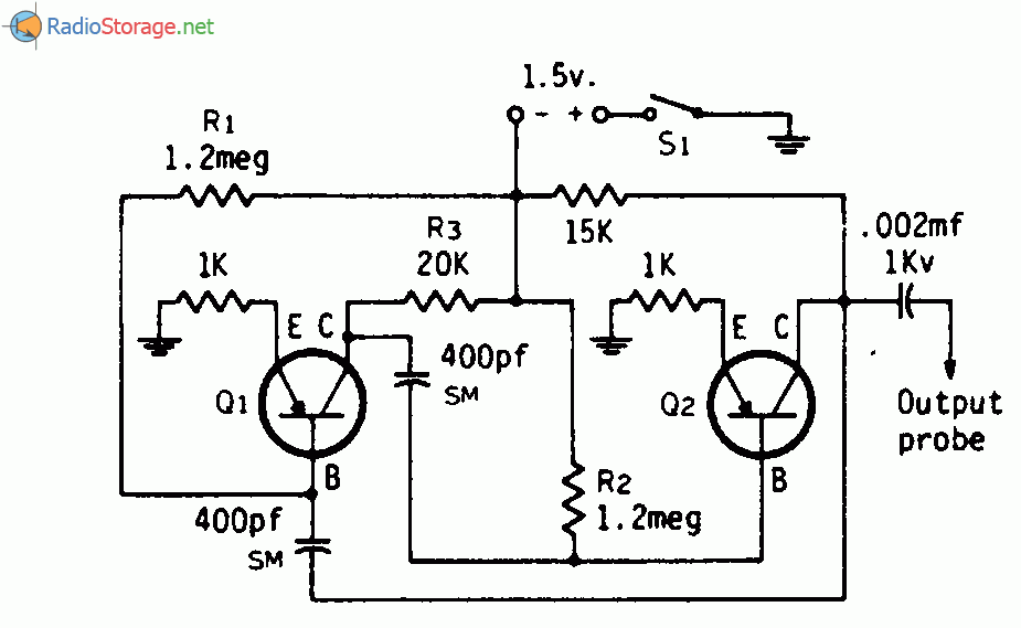 Принципиальная схема: Низкочастотный генератор контрольного сигнала.