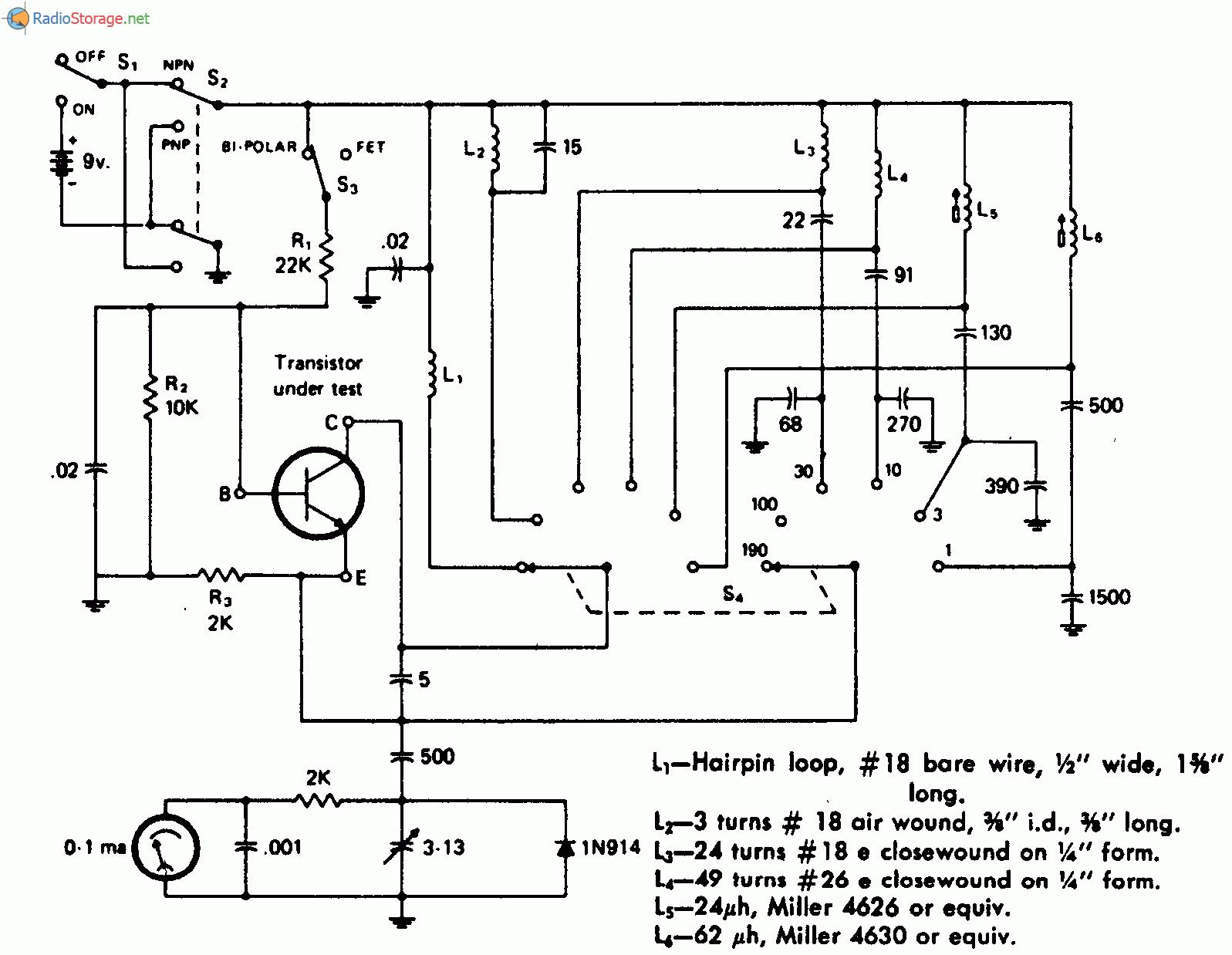 Схема тестера позволяет определить, является ли неизвестный тестируемый прибор полевым транзистором низкой...
