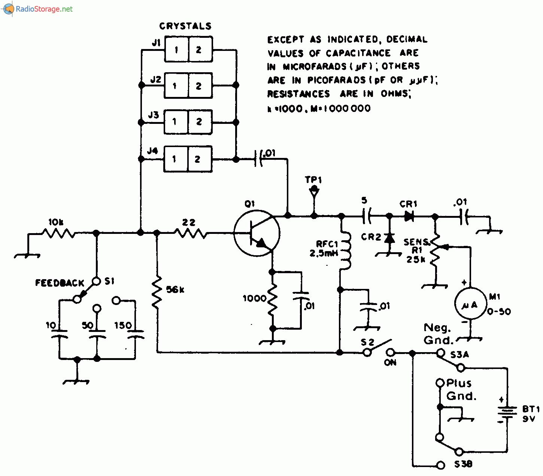 Основой схемы тестера является генератор Пирса на я-р-л-транзисторе (типа 2N4124, MPS3563 или НЕР53)...