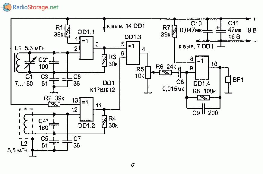 Три схемы металлоискателей на