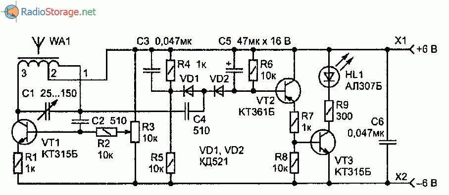 Принципиальная схема детектора