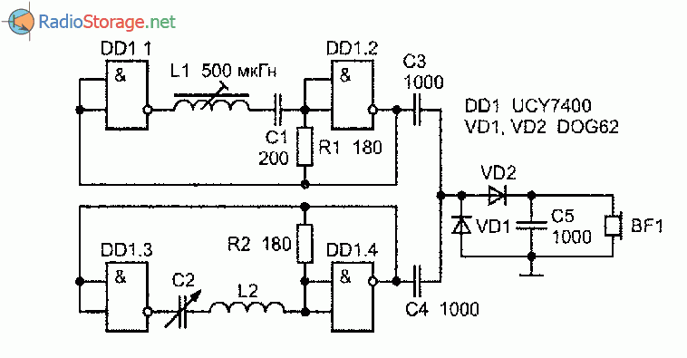 Схема металлоискателя на