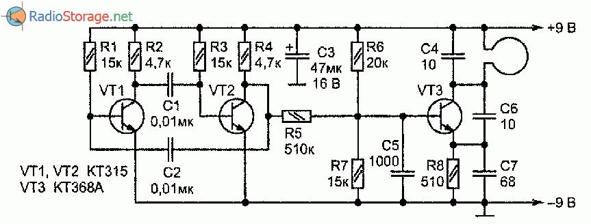 Необходимо только...  Рис. 3.27.  Принципиальная схема металлоискателяь с индикатором на УКВ приемнике...