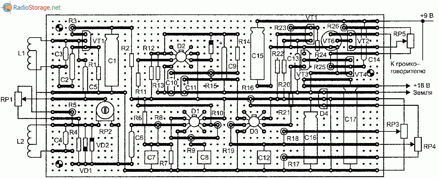 Схема чувствительного металлоискателя с низкой рабочей частотой.