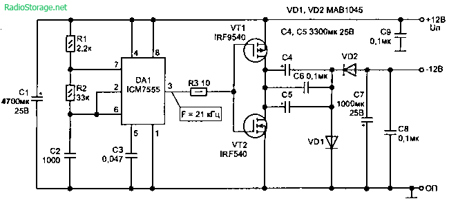 Инверторное зарядное устройство для автомобильного аккумулятора.