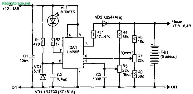 Схемы зарядных устройств для автомобильных аккумуляторов. вращения.