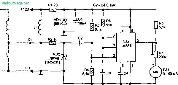 Схема простого тахометра на