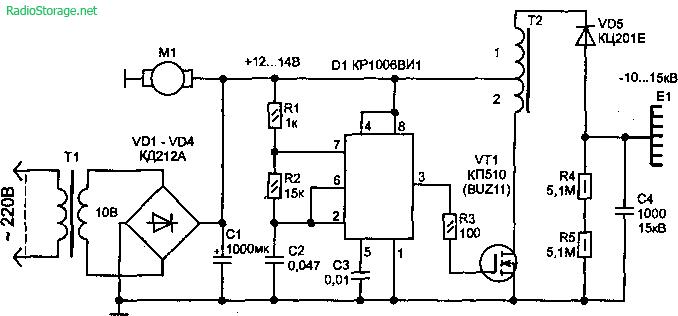 Схема генератора отрицательных ионов