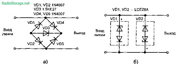 TVS-диода; б — включение