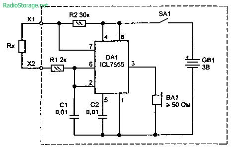 Схема пробника со звуковой индикацией для прозвонки цепей.