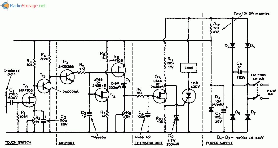 Схема мощного сенсорного