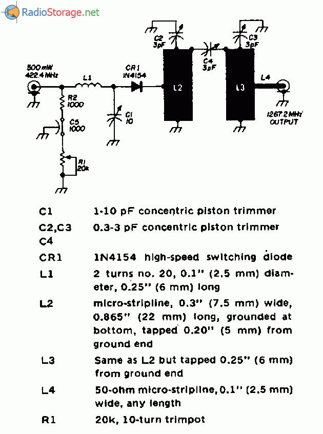 Схема потроєння частоти з діодом і гребінчастим фільтром (мал.), для спрощення конструкції змонтована на двосторонній...
