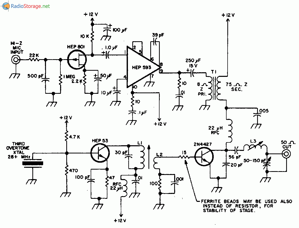 Электронная схема: Простой передатчик на 20 МГц 1 5Вт.
