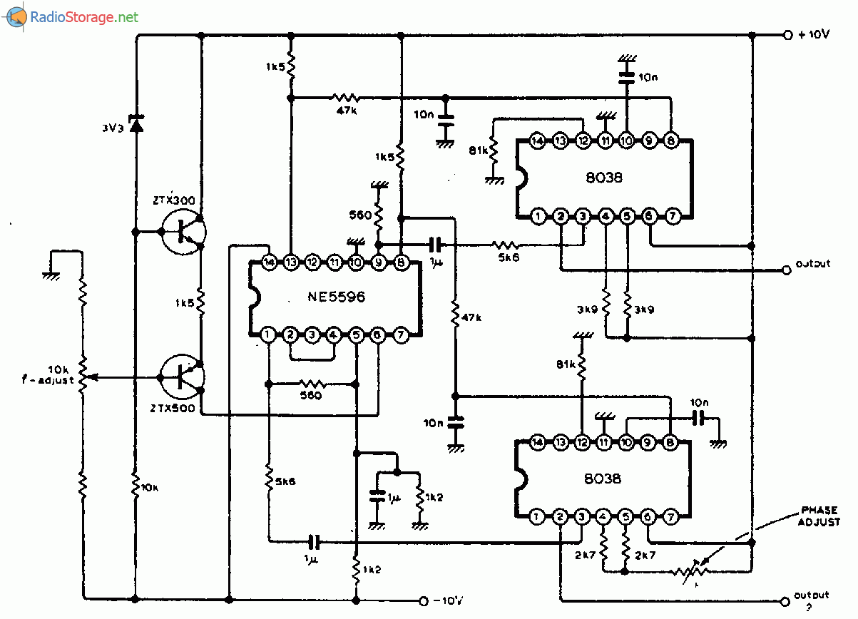 Генератор управляемый напряжением с двумя выходными сигналами.  Схема генератора управляемого током.