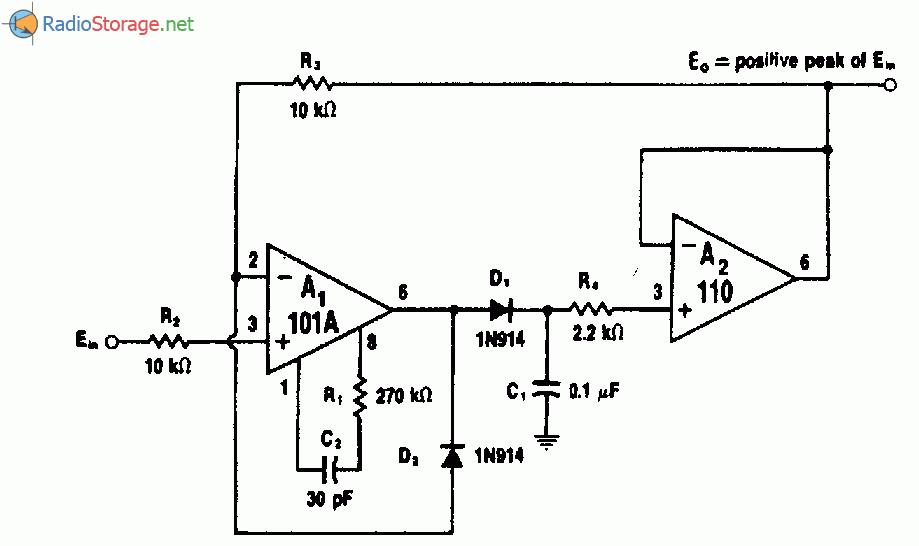 Схема пикового детектора