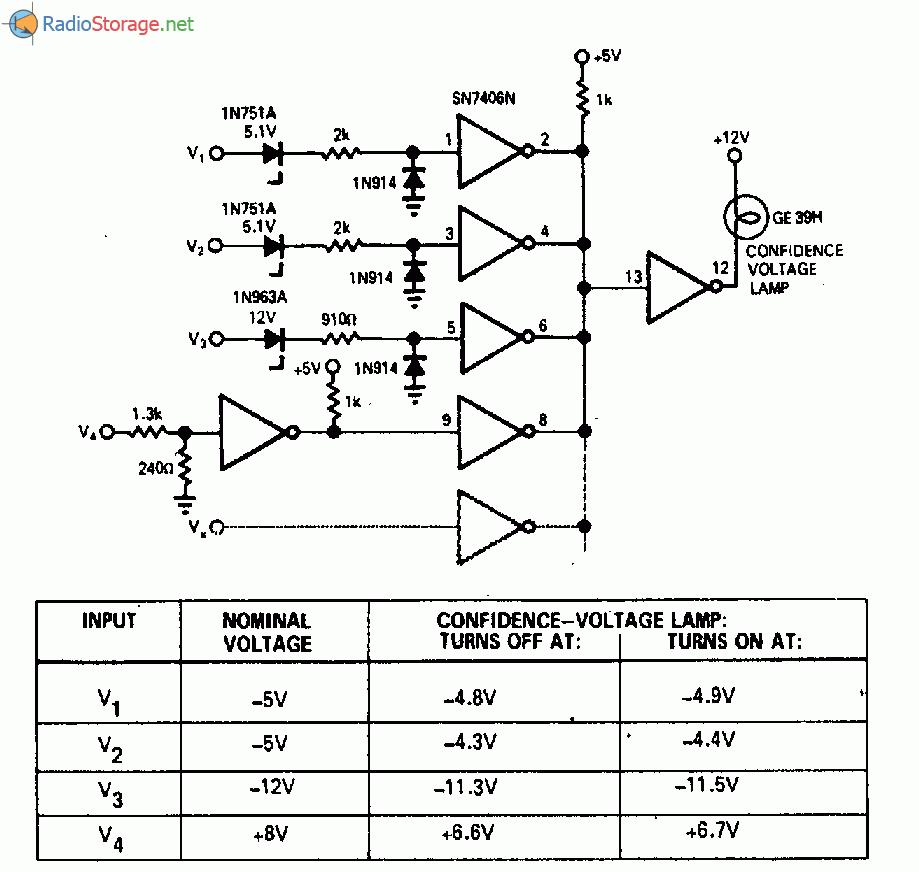 Схема, определяющая два пороговых напряжения 4 и 8 В. Схема устройства, контролирующего напряжение 12 В постоянного...