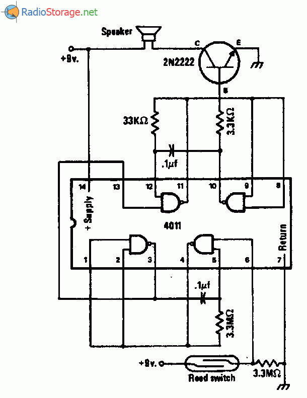 Схема звукового сигнализатора