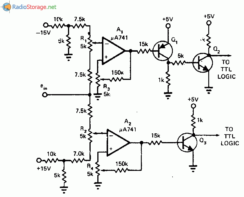 Схема детектора диапазона