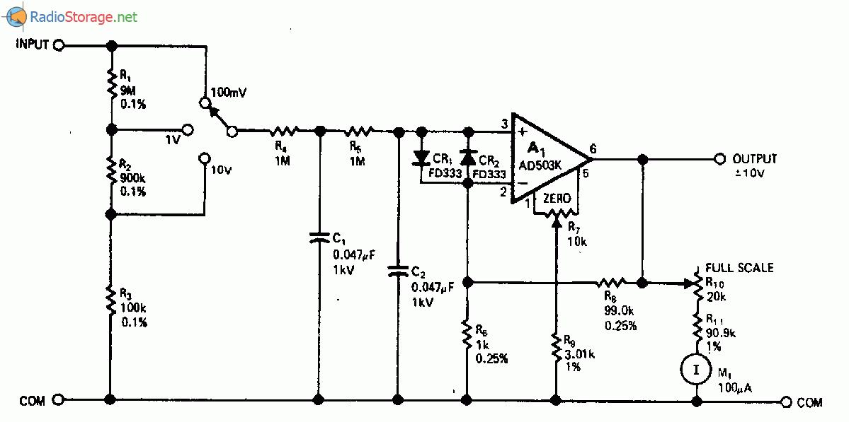 Схема прецизионного усилителя с входным сопротивлением 1 ТОм для измерения переменного и постоянного напряжения.