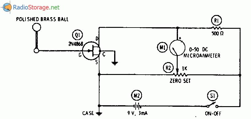 Показание в измерительном приборе, вызванное статическим током стока полевого транзистора, если шар удален от...