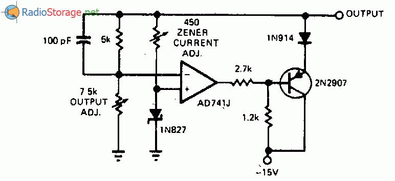 Электронная схема: Источник опорного напряжения с выходным напряжением 10 В со стабилитроном. схема.