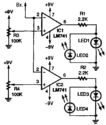 Схема компаратора на два напряжения.