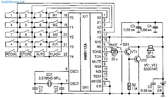 Бипер на микросхеме НМ9112А