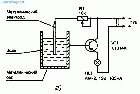 Рис. 10.3.  Принципиальная схема (а) и монтаж на монтажной планке (б) деталей сигнализатора уровня воды в...