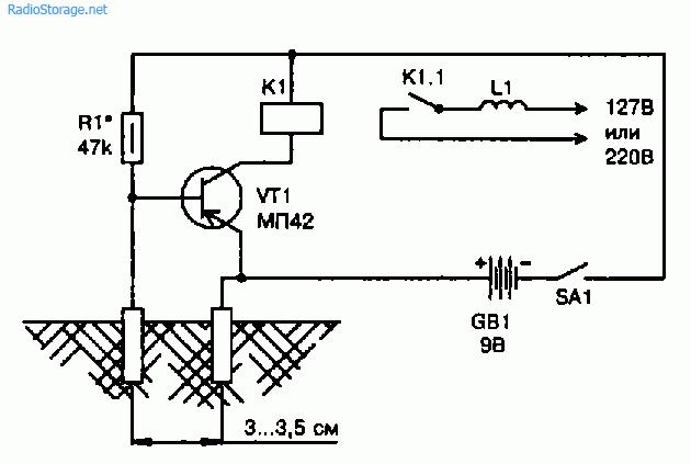 Схема сигнализатора полива