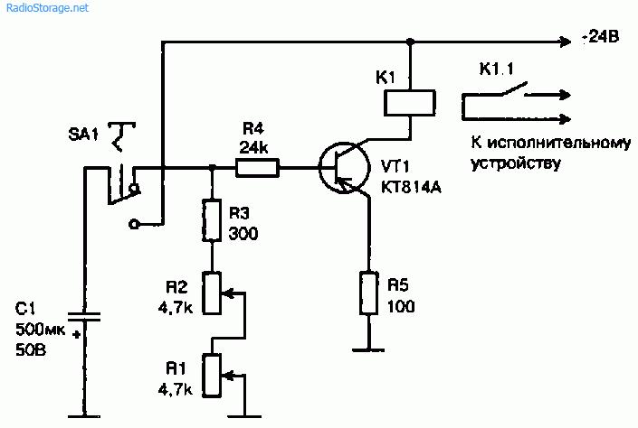 Схема простого реле времени на