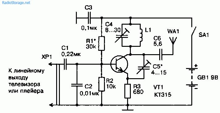 Схема УКВ ЧМ передатчика на