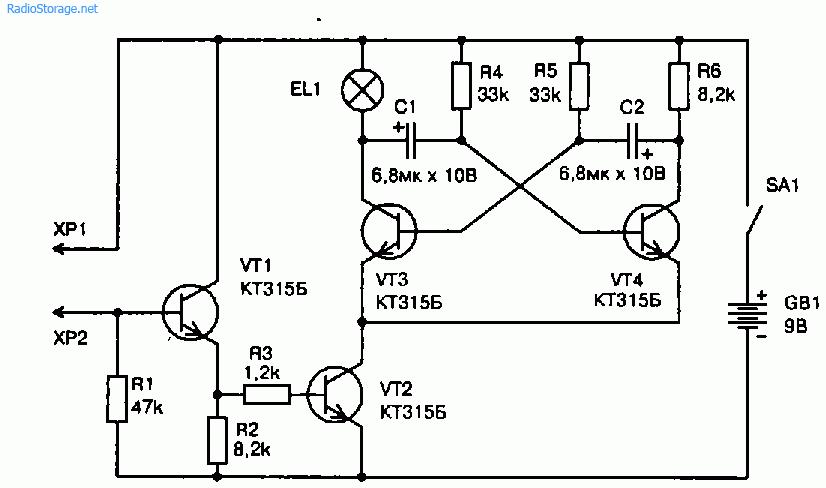 Схема пробника цепей со