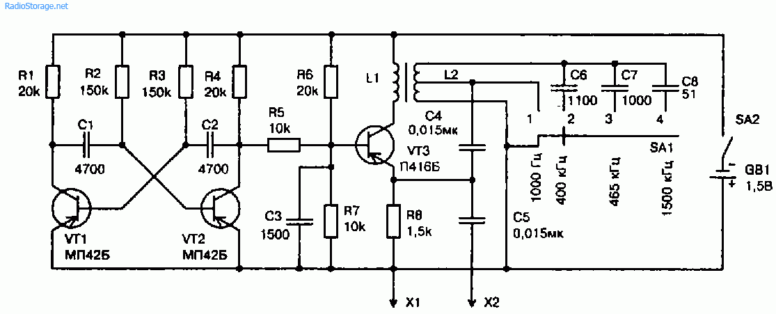 Схема генератора-пробника с