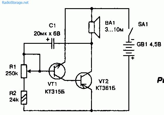 Метроном собран по схеме несимметричного мультивибратора...  Рис. 16.1.  Принципиальная схема простого электронного.