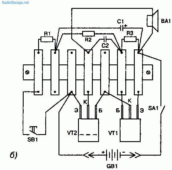Рис. 16.4.  Принципиальная схема (а) и монтаж на монтажной планке (б) деталей электронной сирены.