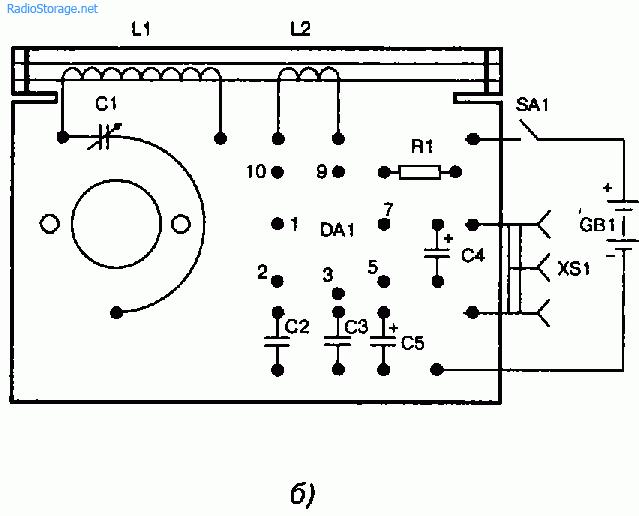 Схема простого радиоприемника на микросхеме К140УД1А.
