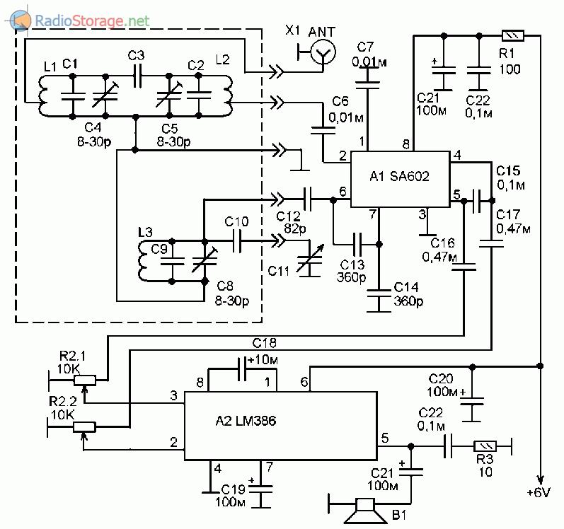 Четырехдиапазонный любительский КВ приемник на микросхемах SA602, LM386
