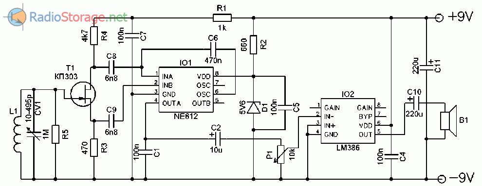 Простой АМ-приемник с синхронным детектором (NE612, LM386)