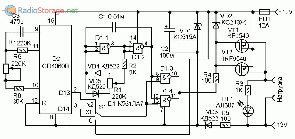Принципиальная схема регулятора мощности с прерывателем
